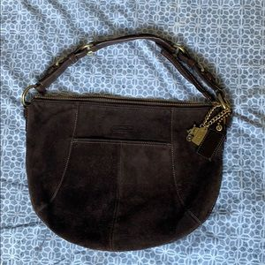 Brown suede coach purse